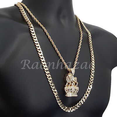 Diamond Crown Charm - ICED OUT CROWN LION CHARM ROPE CHAIN DIAMOND CUT 30