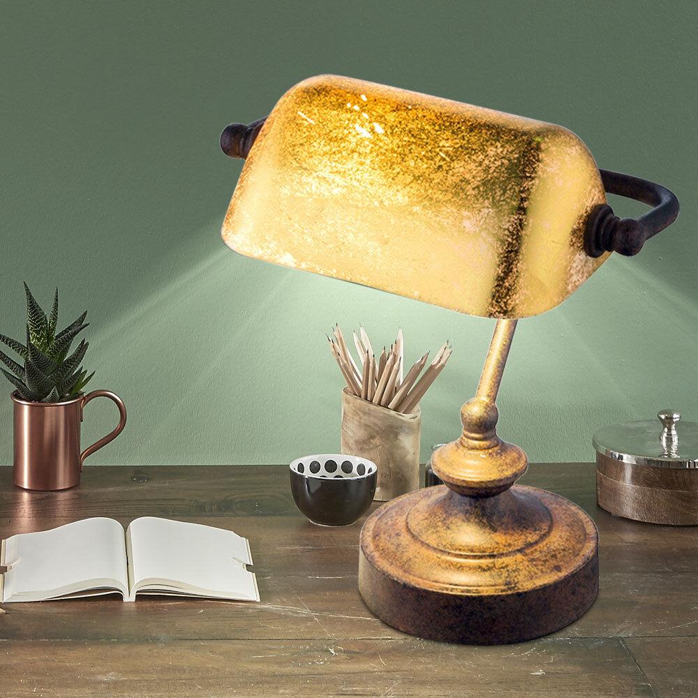 VINTAGE Beistell Tisch Lampe Flur Banker Leuchte Blatt Gold Design Rost Farben
