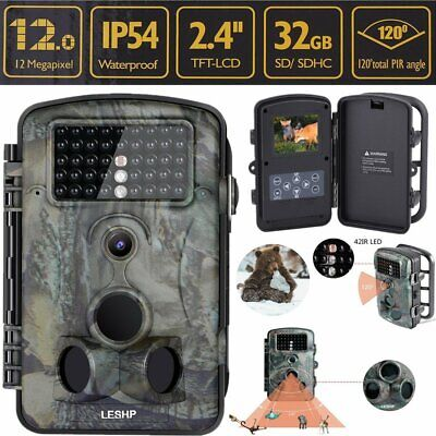 """2.4"""" 1080P Infrared IR 12MP Game Trail Stealth Night Vision Hunting Camera BT"""