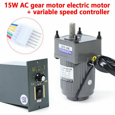 15w Ac Gear Motor Electric Motor Variable Speed Controller 110 125 Rpm 110v New