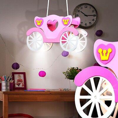 Kinderzimmer Deckenbeleuchtung Mädchen Hängelampe rosa Kutsche Globo 15724 pink