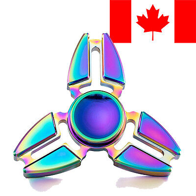 FIDGET HAND TRI SPINNER RAINBOW CHROME METAL ALUMINUM EDC STRESS RELIEF TOY