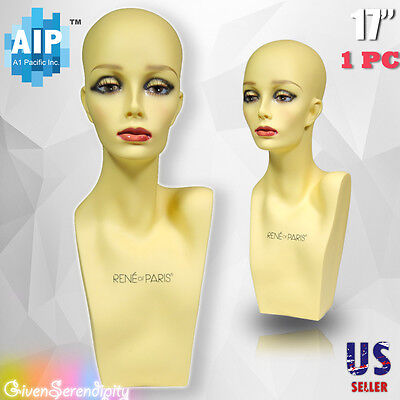 Realistic Plastic Female Mannequin Head Lifesize Display Wig Hat 17 Ph-17