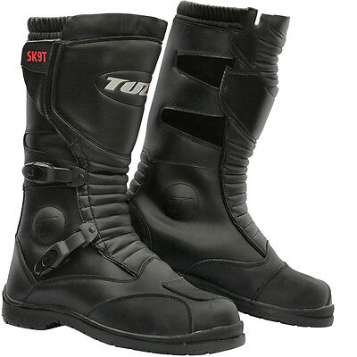 Motorcycle SK9T Motorbike Trail Touring Waterproof Black Leather Boots Size UK10