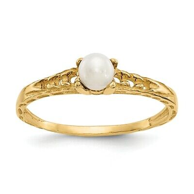 14K Yellow Gold 3mm FWC Pearl Birthstone Baby Ring Size 3 Madi K Childs Jewelry 14k June Birthstone Ring
