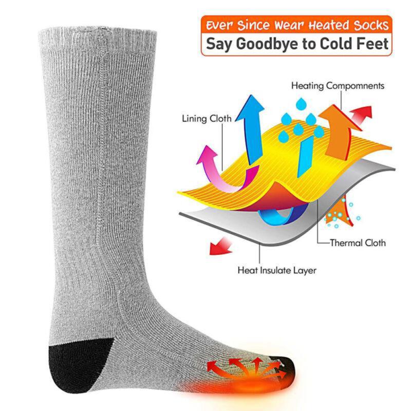 как выглядит Rechargable Battery Electric Heated Socks Boot Feet Warmer Winter Outdoor Gift фото