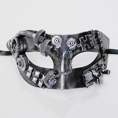 Steampunk Kostüm Theater Maskenball-Maske für Männer M39028 - Metallisch (Kostüm Für Maskenball)