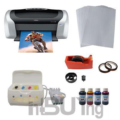Epson C88 Printer Ciss Ink System 4bottles Sublimation Ink A4 Paper Tape Kit