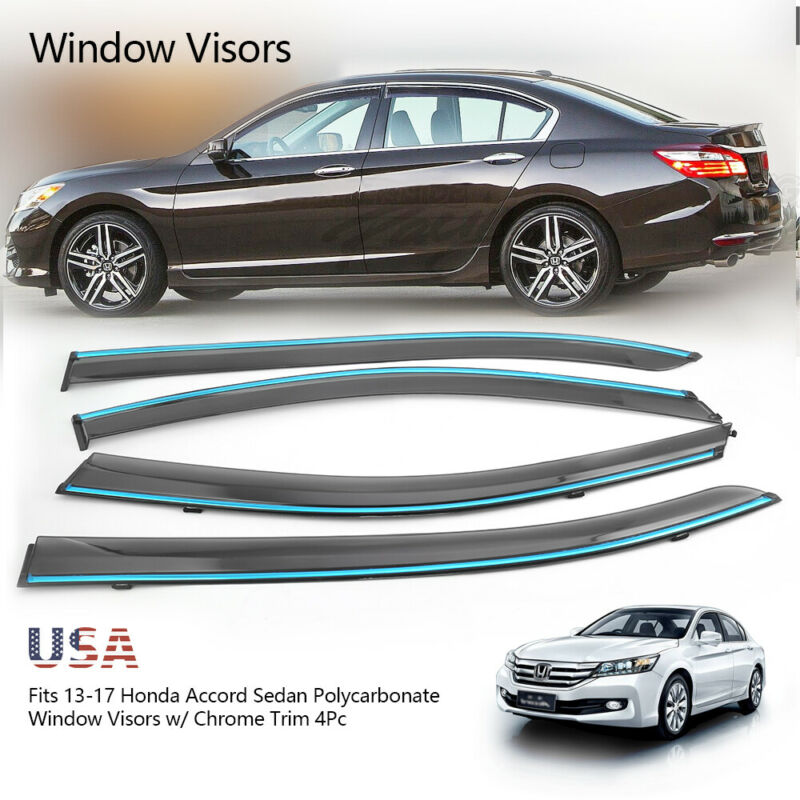 For 13-17 Honda Accord Sedan Polycarbonate Window Deflector Visor Sun Rain Guard