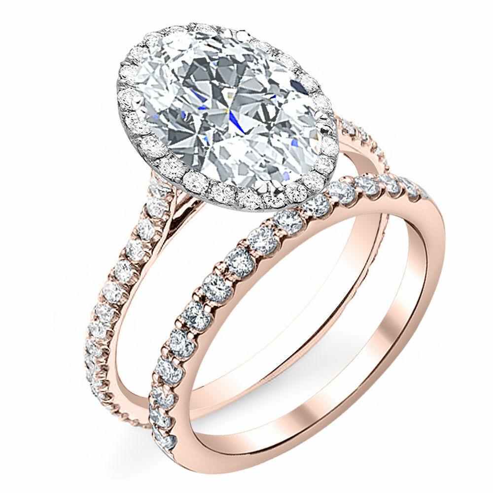 GIA Certified 2.60 Ct. Oval Cut Halo Diamond Engagement Bridal Set H, VS2 14k