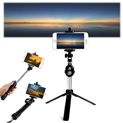 Ebony Extendable Selfie Stick Tripod Remote Bluetooth Shutter For iPhone 7 Plus