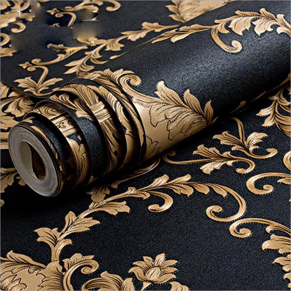 Modern Vintage Classic Black Gold Damask Feature Pvc Bedroom Wallpaper 5 3 Ebay