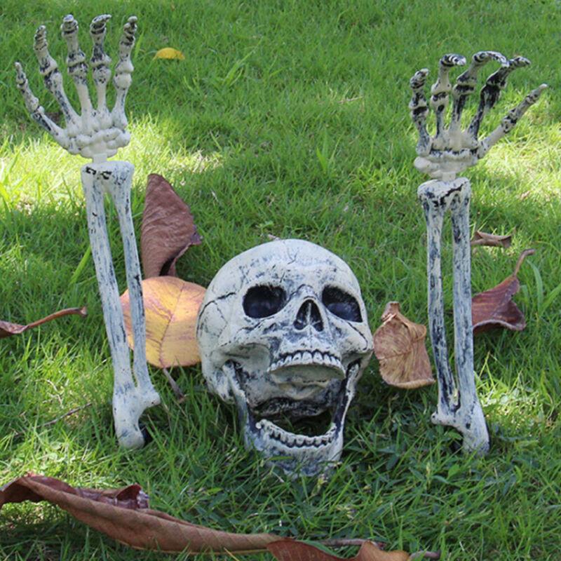 Halloween Scary Horror Skeleton Decoration Head Bones Skull Hands Outdoor Indoor