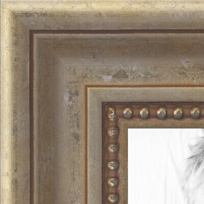 ArtToFrames Custom Picture Poster Frame Silver Aged White Go