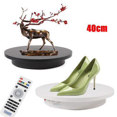 """360 Degree Electric Motorized Rotating Turntable Display Stand 15.7"""" Black White"""