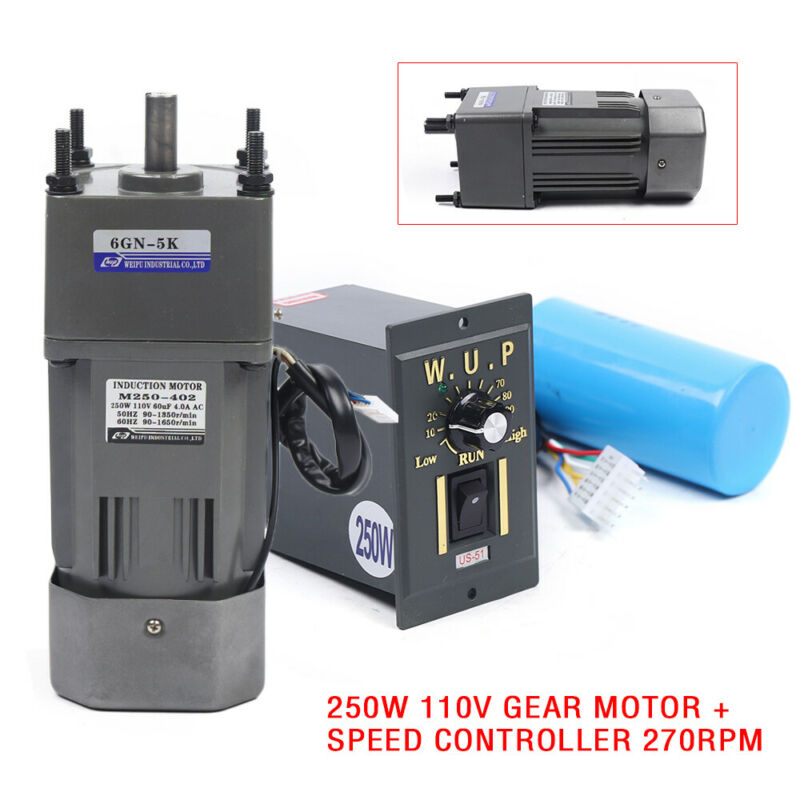 NEW 250W AC110V gear motor electric motor variable speed controller 1:5 270RPM