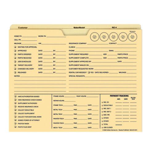 100ct IDEA Heavyweight 150lb Manila Job Jacket Folder FL9955 - Auto Repair Order