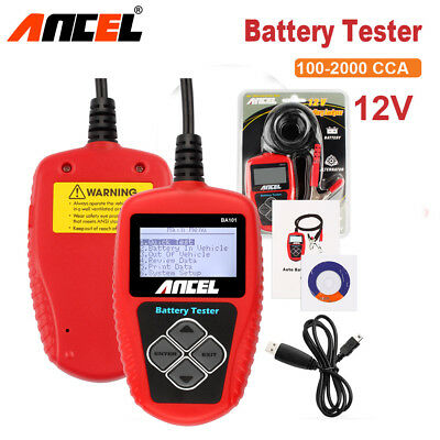 Ancel Battery Analyzer Tester 12V Car Capacity Charger Digital Tool Load CCA US