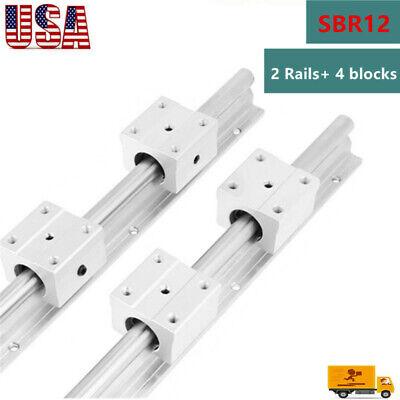 SBR12 Linear Slide Rail Guide Shaft Rod 300-1500mm+4Pcs SBR12 Bearing Block CNC