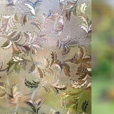 Rabbitgoo leaf frosted window film brown privacy window static cling - Leaf Window