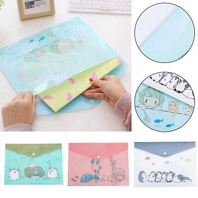 Pvc Folder Zipper Pvc A4 File Holder Organizer Bag Cute Kawaii