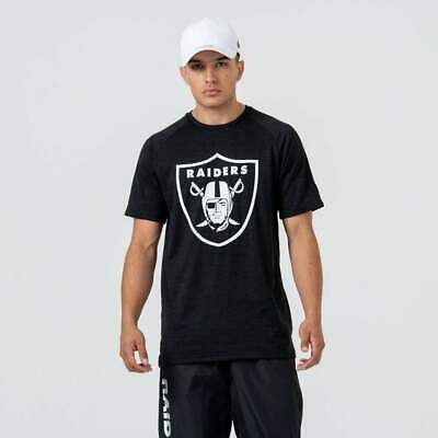 New Era Men's NFL Oakland Raiders Engineered Fit Black & White Raglan Tee