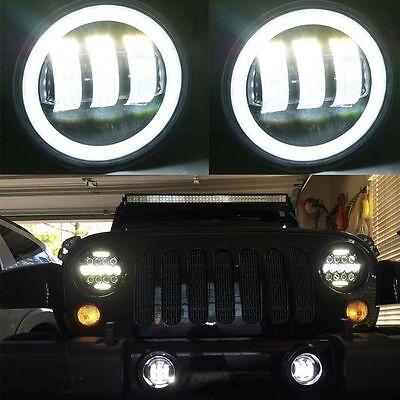 2X 30W 4 inch Led Fog Light Bulb White Halo Jeep Wrangler Jk LJ Dodge Chrysle