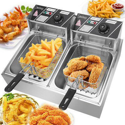 5000w 12l Electric Deep Fryer 2 Tank Fry Basket Commercial Restaurant 12 Liter