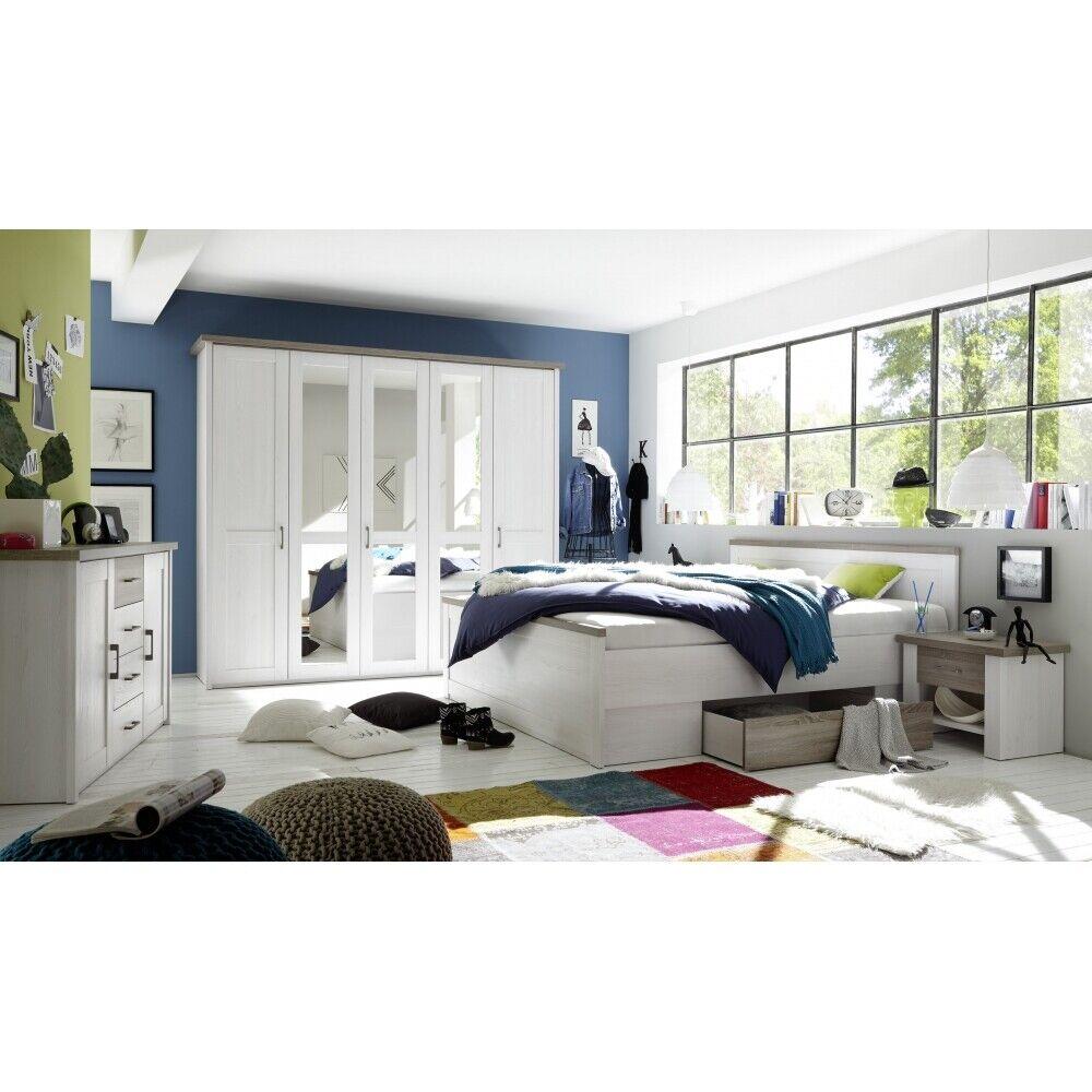 Komplettes Schlafzimmer, Kleiderschrank Doppelbett Nako´s im Set Pinie Nb. weiß