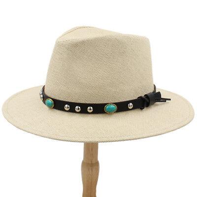 Men Women Straw Panama Hat Fedora Trilby Cap Sunhat Wide Brim Sombrero Sunbonnet