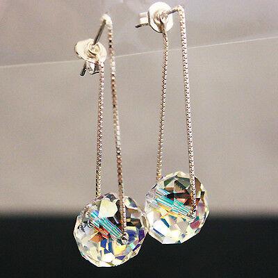 Moonlight Clear Crystal Swarovski Element 925 Silver Dangle Earrings Threader