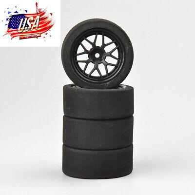 RC 4Pcs Foam Tires Wheel Rims 12mm Hex For HSP HPI 1:10 On-Road Racing Car