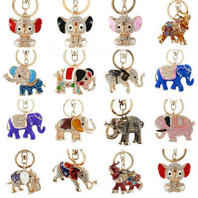 Elephant Keychain Rhinestone Crystal Keyring Key Ring Chain Bag Charm Pendant