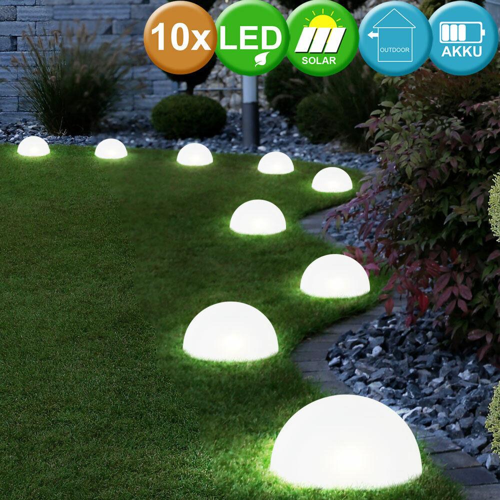 10er Set LED Solar Halb Kugel Erdspieß Lampen weiß Außen Veranda Steck Leuchten