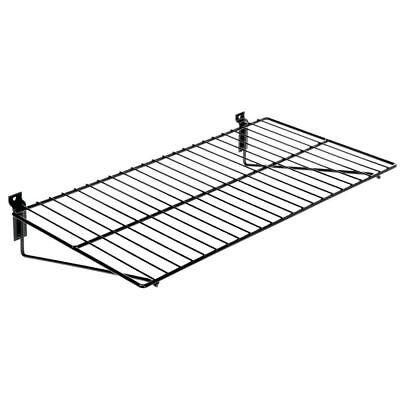 Wire Slatwall Shelf Black- 24l X 12d