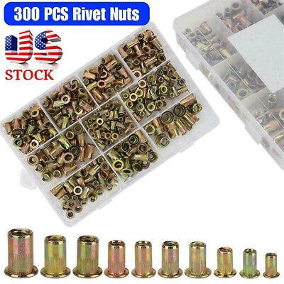 300 Pcs Zinc Steel Rivet Nut Kit Rivnut Nutsert Assort 150x Metric 150x Sae Sl