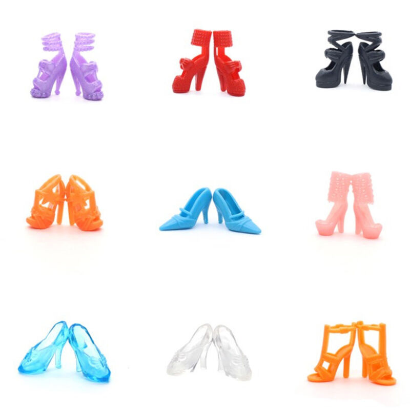80Pc 40 Pairs Different High Heel Shoes Boots For Barbie Doll Dresses Clothes