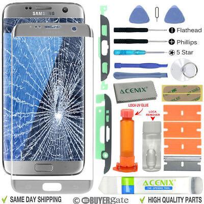 Silver Samsung Galaxy S7 Edge G935 Front Screen Lens Glass R