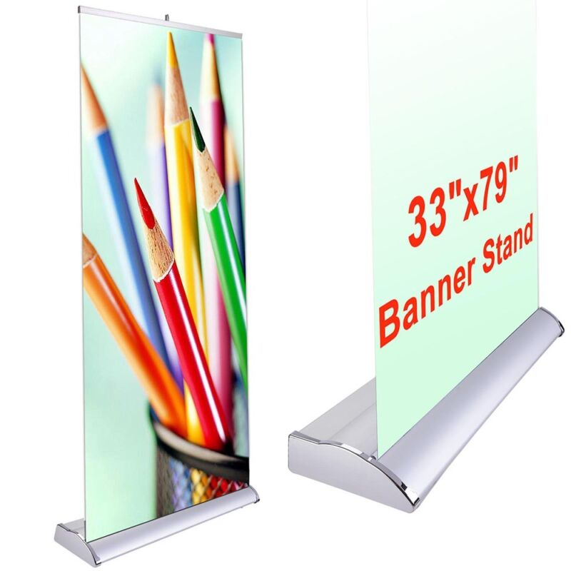 "33x79"" Retractable Rollup Banner Stand Trade Show Display Sign Holder Exhibition"