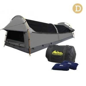 FREE MEL DEL-Double Camping Canvas Swag Tent Grey w/ Air Pillow