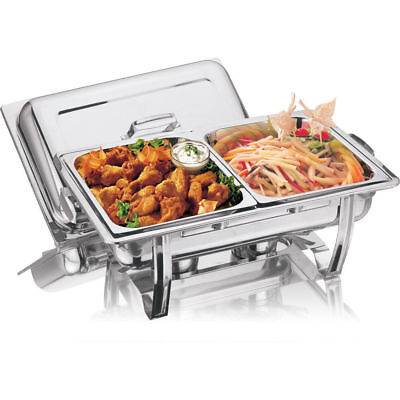 STAINLESS STEEL CHAFING DISH LARGE TWIN PAN 2x 4.25L CHAFFING WARMER WARM CATER ()