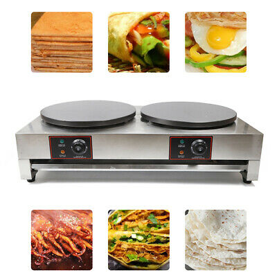 6kw Electric Commercial Double Crepe Maker Machine Non Stick Pancake Pan Griddle