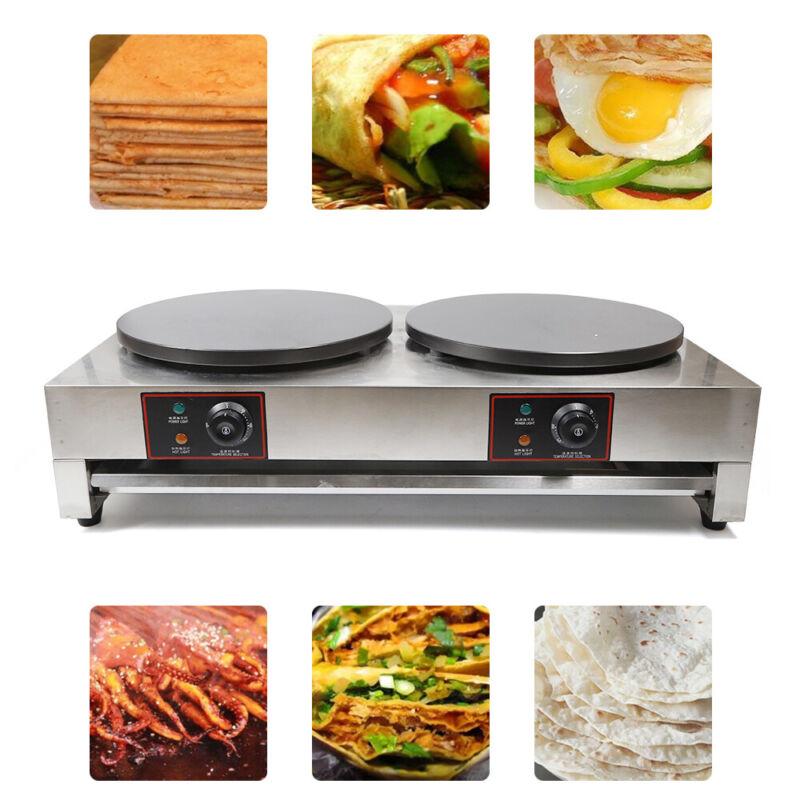 "40cm Commercial Nonstick Electric Double Crepe Maker 16"" Pancake Baker Machine"