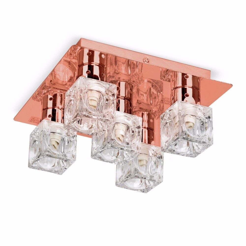 QUICK SALE - Modern 5 Way Flush Ceiling Light Glass Ice Cube Shades Chrome Copper
