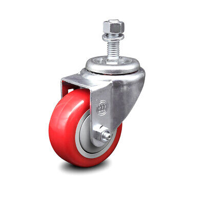 Poly Swvl Threaded Stem Caster W3 Red Wheel And 12 Stem-250 Lbscaster