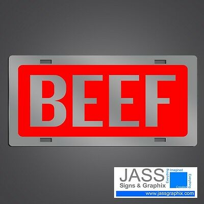 Mirrored Acrylic License Plate - Beef License Plate cattle farmer car tag- Mirrored Acrylic