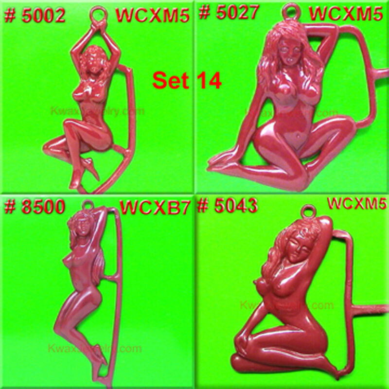 # SET 14 8 WAX PATTERNS CHARMS CASTING NUDE GIRL MOLDS RUBBER  INJECTING