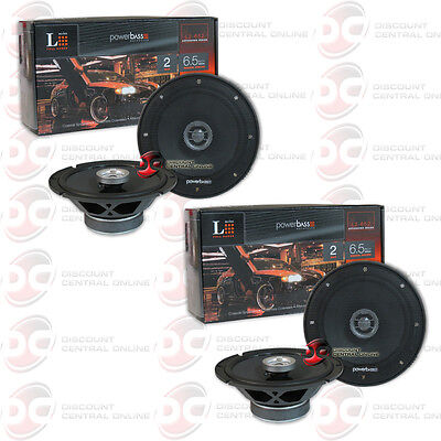 """4 x NEW POWERBASS 6.5-INCH 2-WAY CAR AUDIO COAXIAL SPEAKERS (PAIR) 6-1/2"""""""