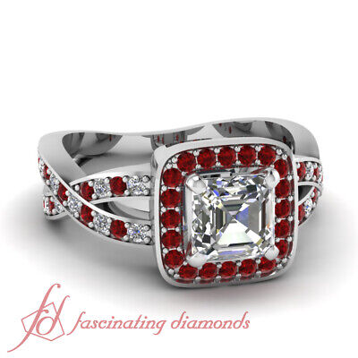 Halo Style Pave Set Diamond Rings With 1.15 Ct Natural Asscher Cut In Center GIA