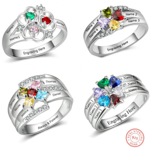 925 Sterling Silver Rings Women Jewelry Birthstone Engraved Names Mothers Gift